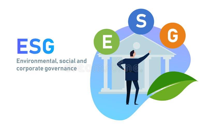 ESG pojęcie środowiskowy, socjalny i zarządzanie w biznesie, podtrzymywalnym i etycznym ilustracji