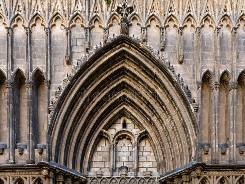 Esglesia de Santa Maria del PI. Decorated portal in typical catalan gothic style. Barcelona, Spain royalty free stock photos