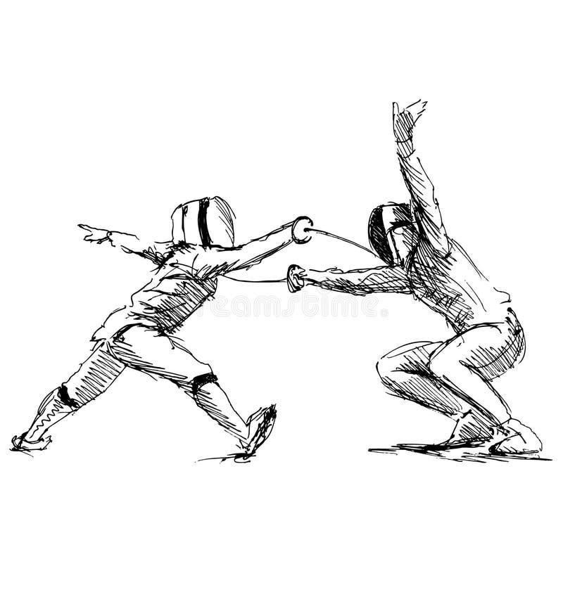 Esgrimistas do esboço da mão ilustração royalty free