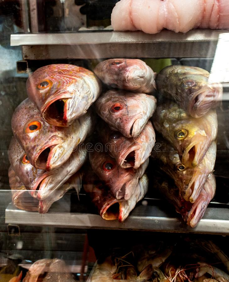 Esibito in una vetrina di un mercato immagine stock