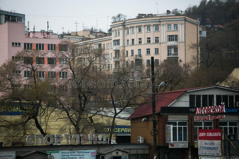 Esidential development of Vladivostok panel and brick houses. Streets of sleeping areas of the capital of the Far East stock photography