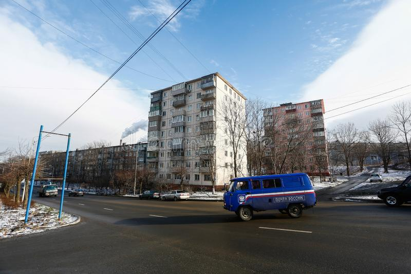 Esidential development of Vladivostok panel and brick houses. Streets of sleeping areas of the capital of the Far East stock images