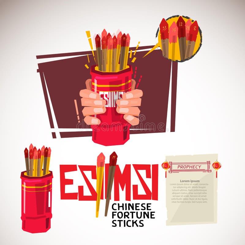 Esiimsi. Hand holding Chinese fortune sticks and shaking. typog royalty free illustration