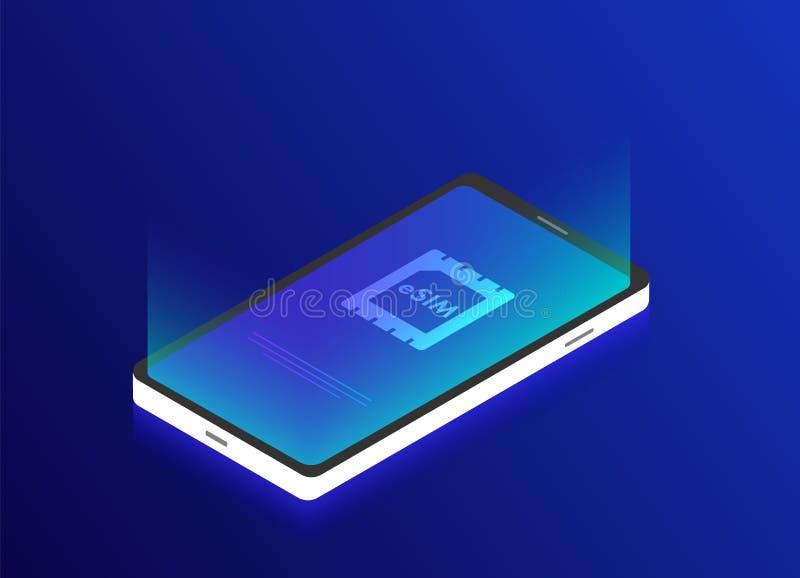 ESIM-de spaanderteken van de techology isometrisch 3d kaart Ingebed SIM-concept Communicatietechnologieconcept voor mobiel telefo stock illustratie