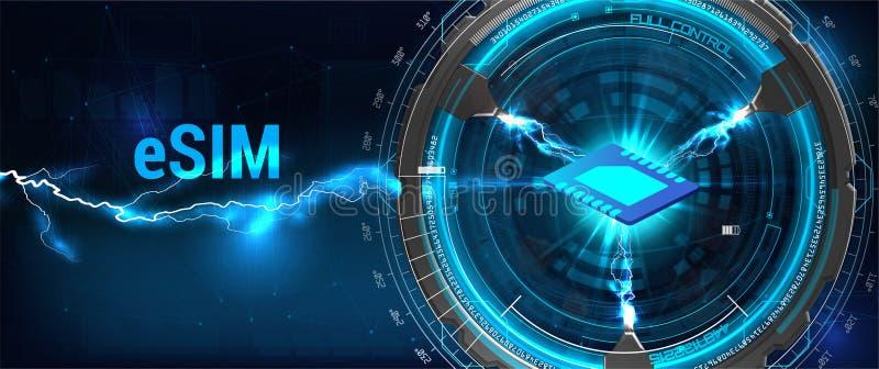 ESIM-het teken van de kaartspaander Ingebed SIM-concept stock illustratie