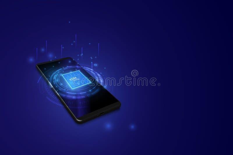 ESIM-het teken van de kaartspaander Ingebed SIM-concept Nieuwe mobiele communicatietechnologie Futuristische projectie sim kaart  vector illustratie