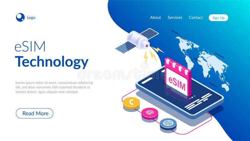 ESIM-het teken van de kaartspaander Ingebed SIM-concept Nieuwe mobiele communicatietechnologie Satelliet op de achtergrond van de vector illustratie