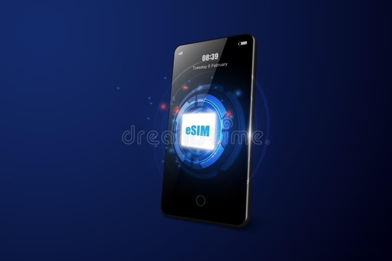 ESIM-het teken van de kaartspaander smartphon Ingebed SIM-concept Nieuwe mobiele communicatietechnologie vectorillustratie royalty-vrije illustratie