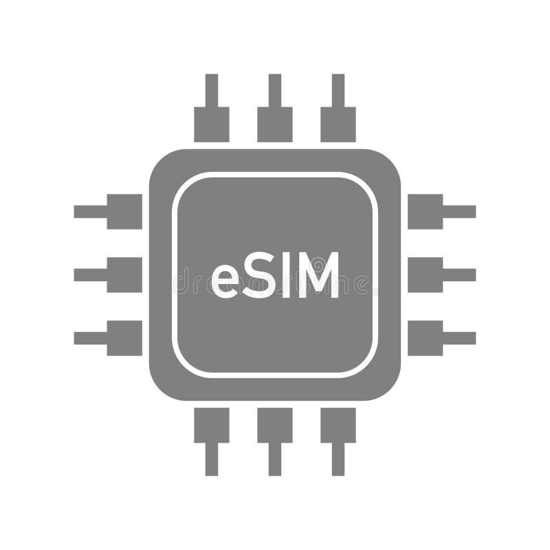Esim integró vector moderno de la tecnología de la tarjeta del sim stock de ilustración