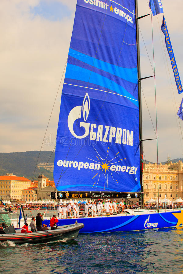 Esimit Europa 2 zwycięzca 46° Barcolana regatta, Triest fotografia royalty free