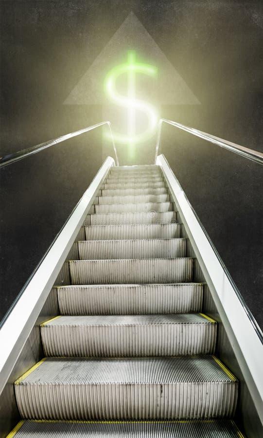 Eskalator up w kierunku świecącego znaka dolar obraz royalty free