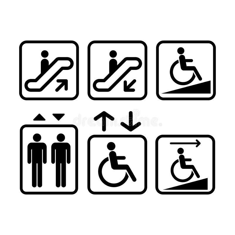Eskalator, winda znak Rampa, dźwignięcie znaki Czerni odosobnione ikony royalty ilustracja