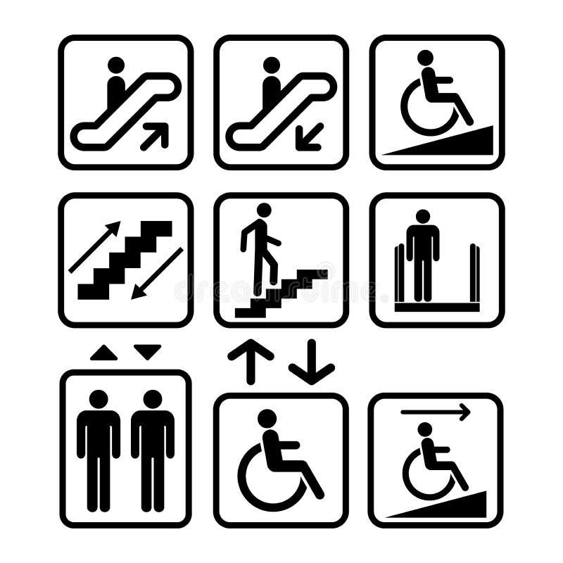 Eskalatoru i windy znak Rampa, dźwignięcie znaki Czerni odosobnione ikony schody znak royalty ilustracja