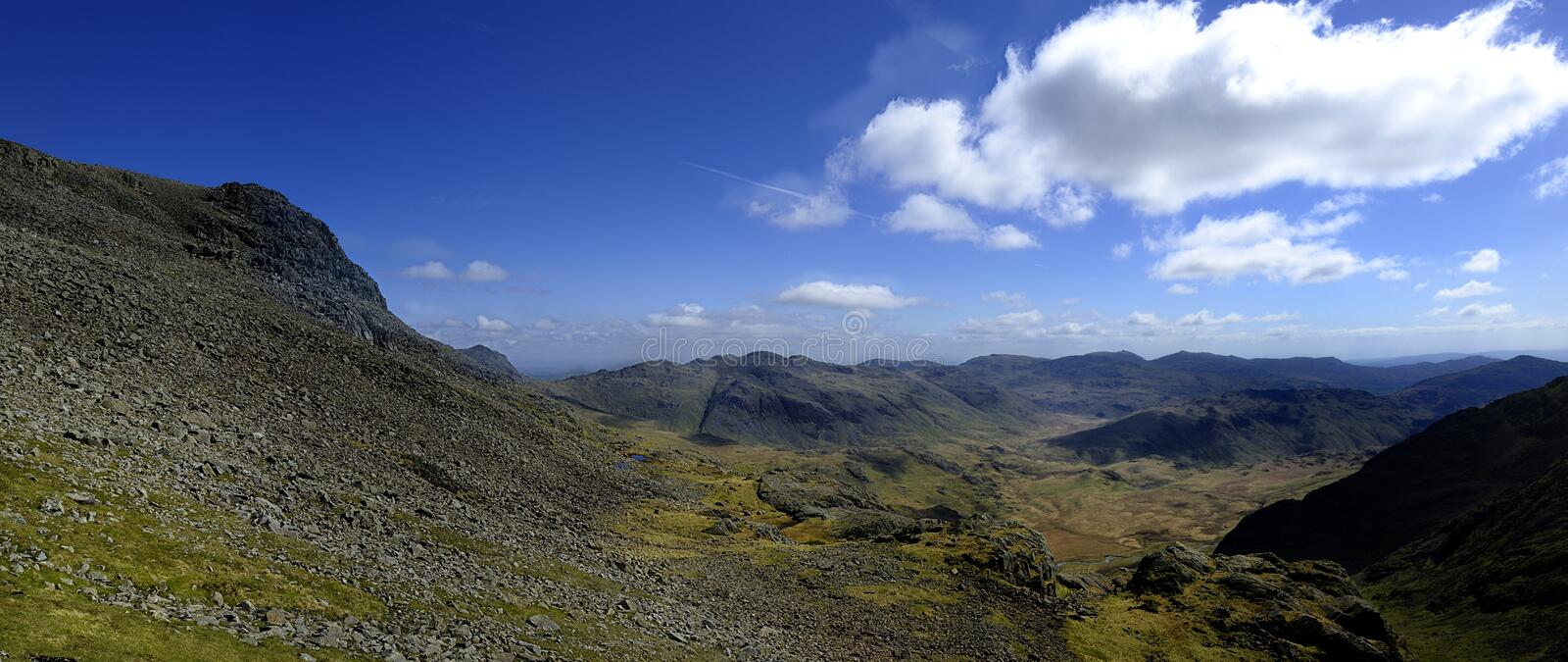 Eskdale Valley. Bowfell, The Crinkles and Coniston Fells from Mickledore Ridge stock images