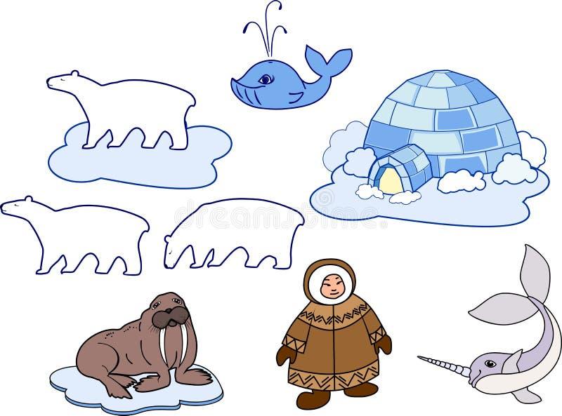Eskimå i nationell kläder, igloo och olika tecknad filmdjur av polara faunor på vit bakgrund vektor illustrationer
