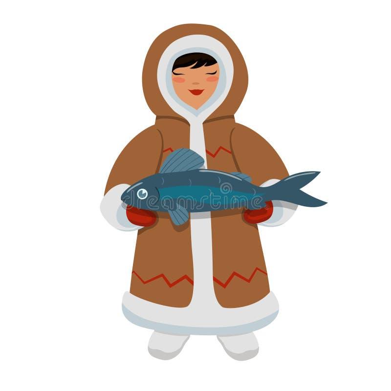 Eskimåflicka med fisken Vektordiagram som isoleras på vit bakgrund stock illustrationer