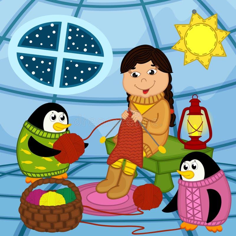 Free Eskimo Girl Knits Sweater For Penguin Stock Image - 79046531