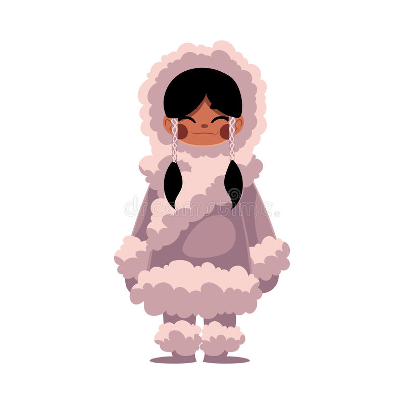 Free Eskimo, Inuit Black Haired Girl In Sheepskin Warm Winter Clothes Stock Image - 86675841