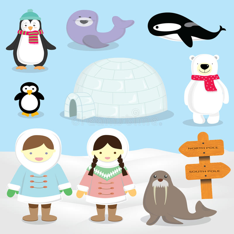Eskimo,North Pole ,Inuit people Arctic animals. The two main peoples known as Eskimo are the Inuit of northern Alaska, Canada, and Greenland and the Yupik of stock illustration