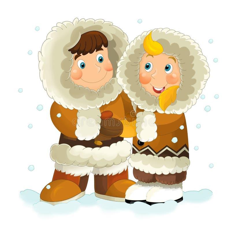 Eskimo par för tecknad film royaltyfri illustrationer