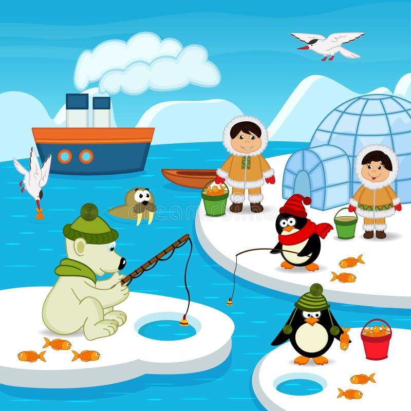 Eskimos and animals catch fish. Vector illustration, eps stock illustration