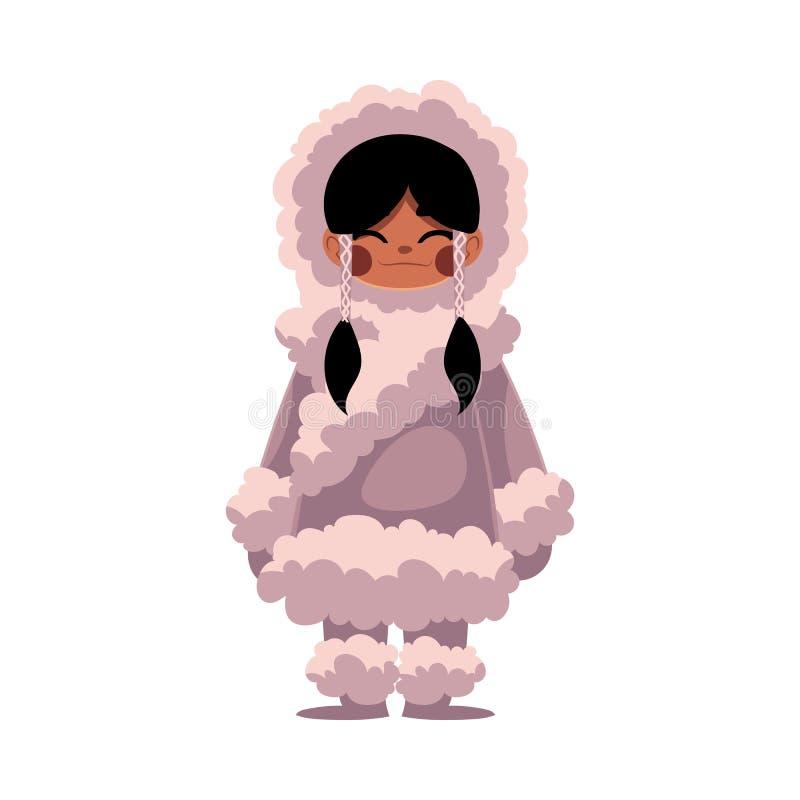 Eskimos, Inuit czarna z włosami dziewczyna w baranicy ciepłej zimie odziewa royalty ilustracja
