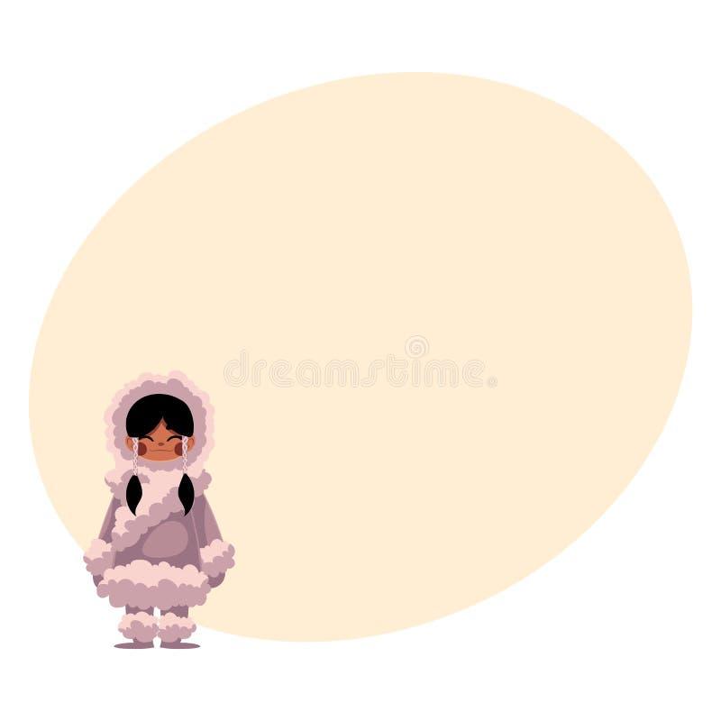 Eskimos, Inuit czarna z włosami dziewczyna w baranicy ciepłej zimie odziewa ilustracji