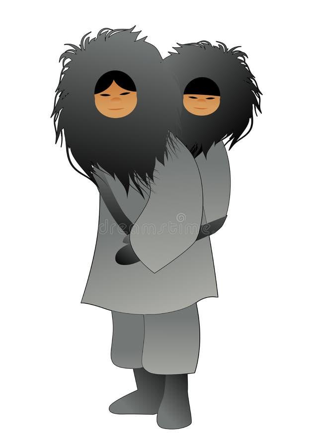 Eskimos matka z synem za ona z powrotem, b?d?cy ubranym futerko odziewa, odizolowywa na bia?ym tle ilustracji
