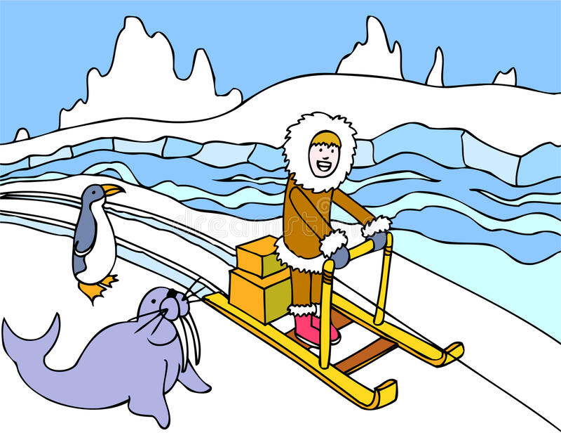 Eskimoschlitten-Fahrt lizenzfreie abbildung