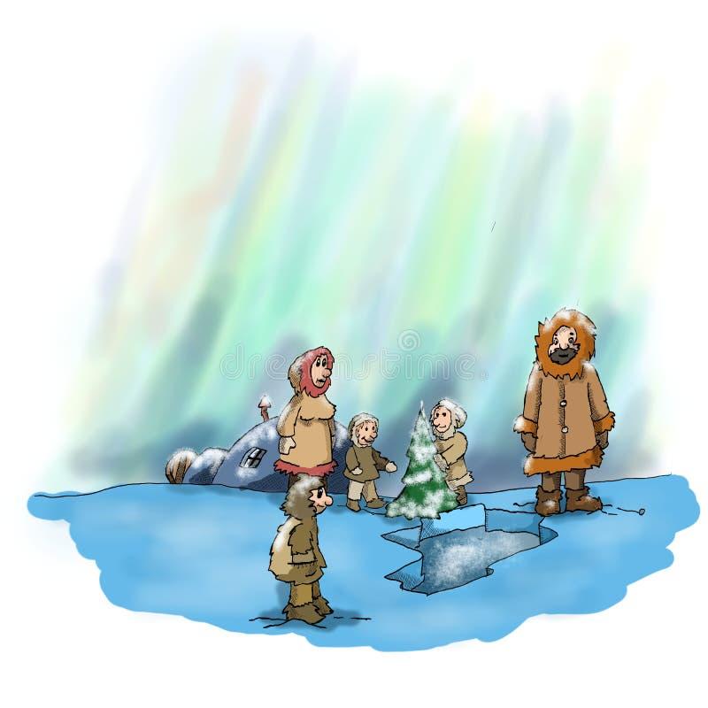 Eskimoscy boże narodzenia i zorza royalty ilustracja
