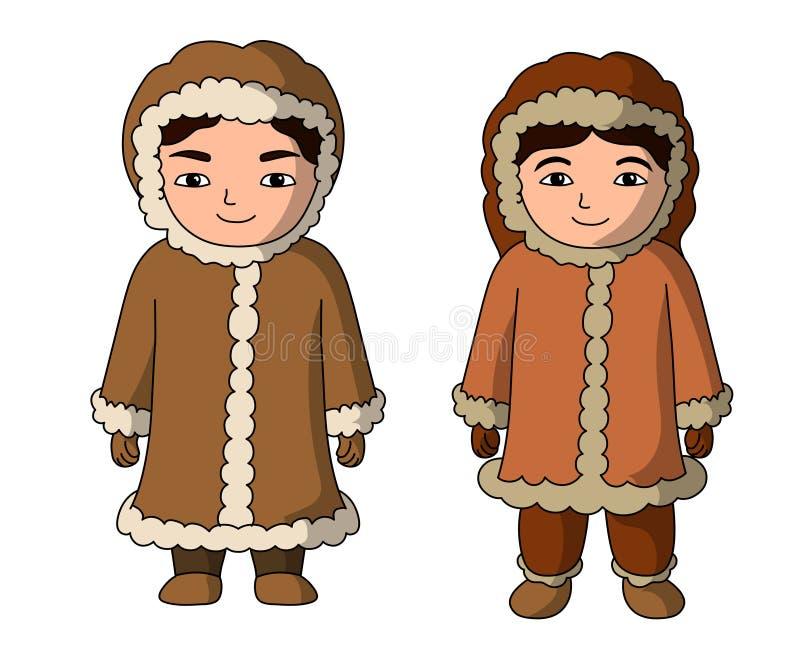 Eskimoscy ludzie ilustracyjnego kreskówka wektoru ilustracja wektor