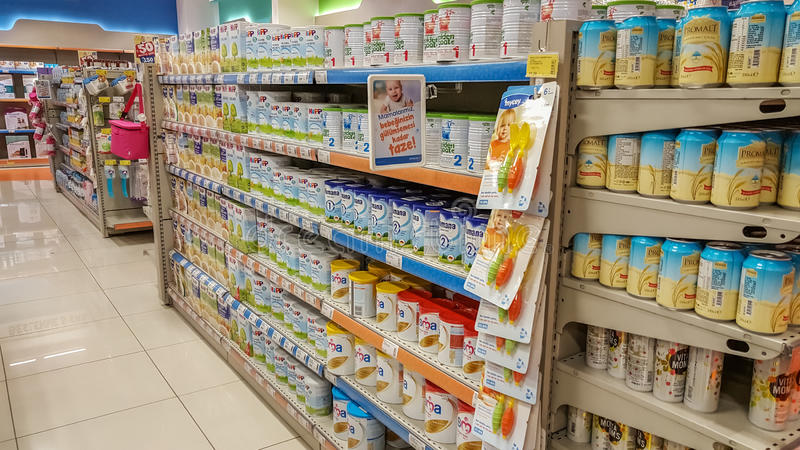 Eskisehir, Turkey - April 08, 2017: Baby food supplies for sale on supermarket shelves stock photography