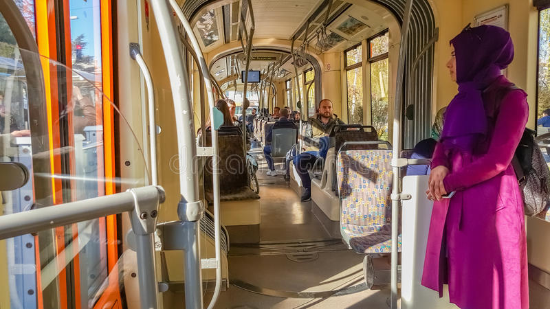 Eskisehir, Turkey - April 01, 2017: Passengers on Eskisehir tramway. Everyday life and commuting to work by tram royalty free stock images