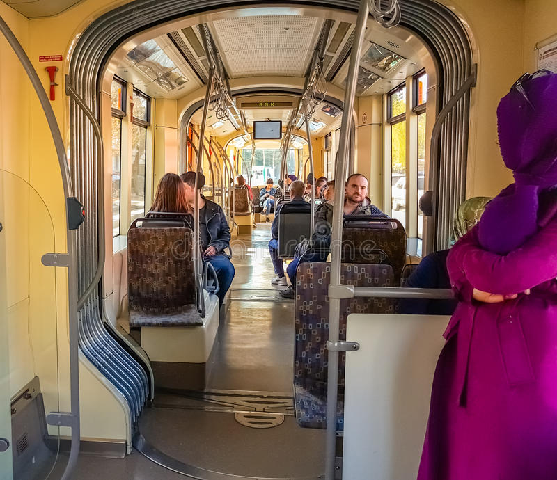 Eskisehir, Turkey - April 01, 2017: Passengers on Eskisehir tramway. Everyday life and commuting to work by tram stock images