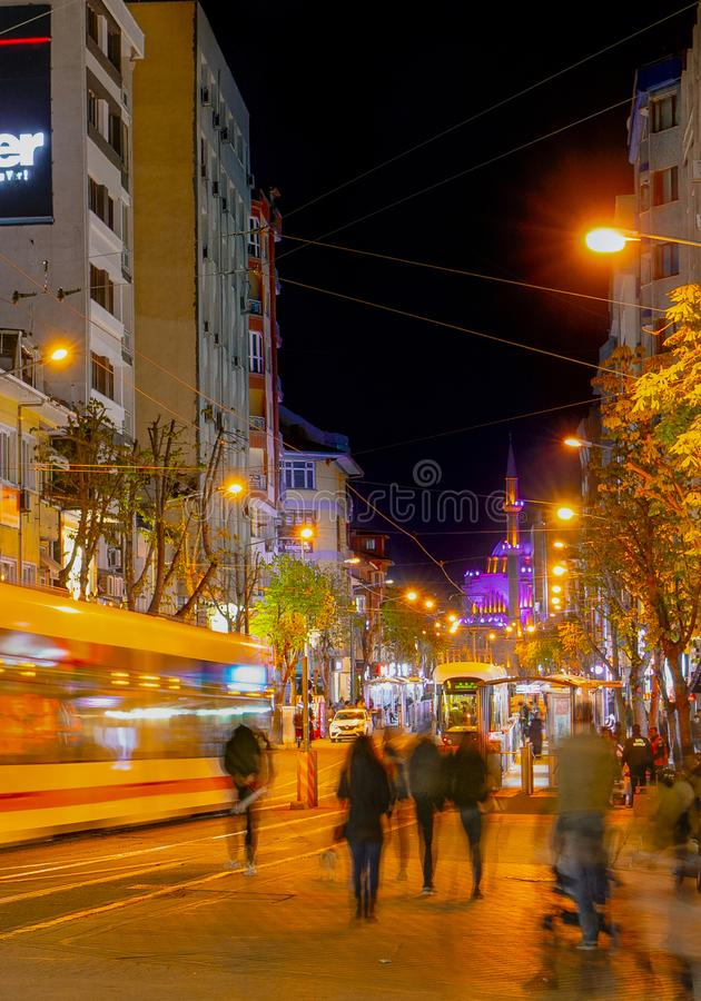 Eskisehir/Turkey-April 22 2019: View of city center near Porsuk River at night stock photography