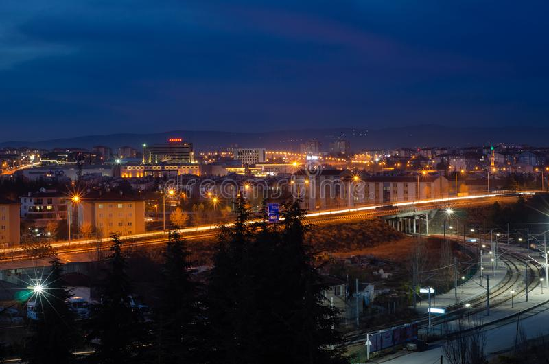 Eskisehir,TURKEY-December 24,2018:City lights are at blue hours. stock photography