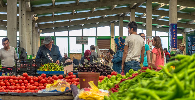 Eskisehir, Turkey - June 15, 2017: People at traditional typical Turkish grocery bazaar in Eskisehir, Turkey royalty free stock image
