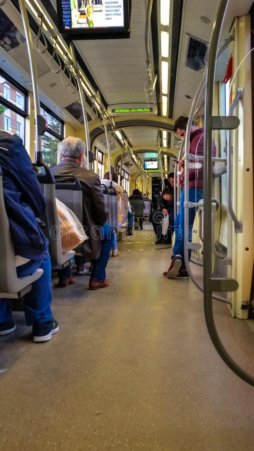 Eskisehir, Turkey - March 24, 2017: Passengers on Eskisehir tramway. Everyday life and commuting to work by tram royalty free stock photography