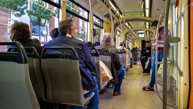 Eskisehir, Turkey - March 24, 2017: Passengers on Eskisehir tramway. Everyday life and commuting to work by tram stock photo