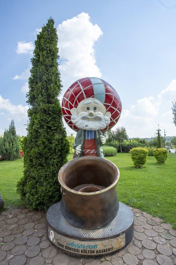Eskisehir/Turkiet, 22 Maj 2018, Eskisehir Sazova parkerar Nasreddin hocaskulptur royaltyfri bild