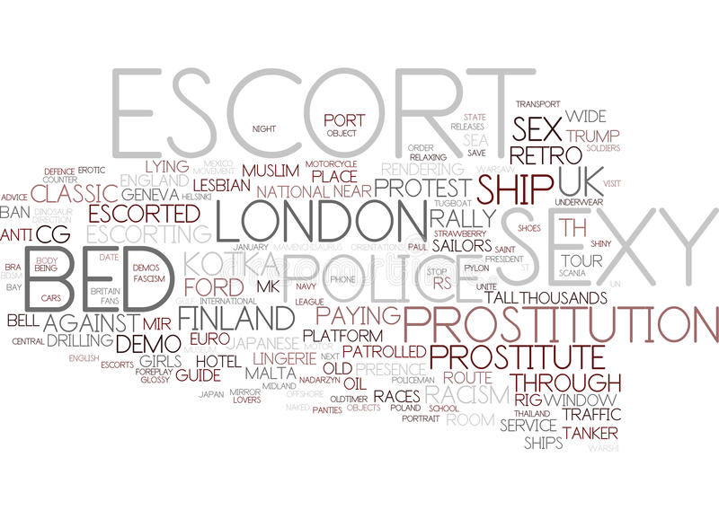 Eskort Word Cloud Concept stock illustrationer