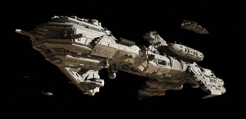 Eskorty międzygwiazdowa Futurystyczna Fregata ilustracji