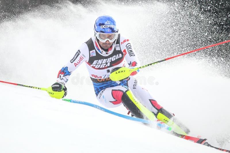 Eslalom para hombre del trofeo 2019 de la reina de la nieve fotografía de archivo