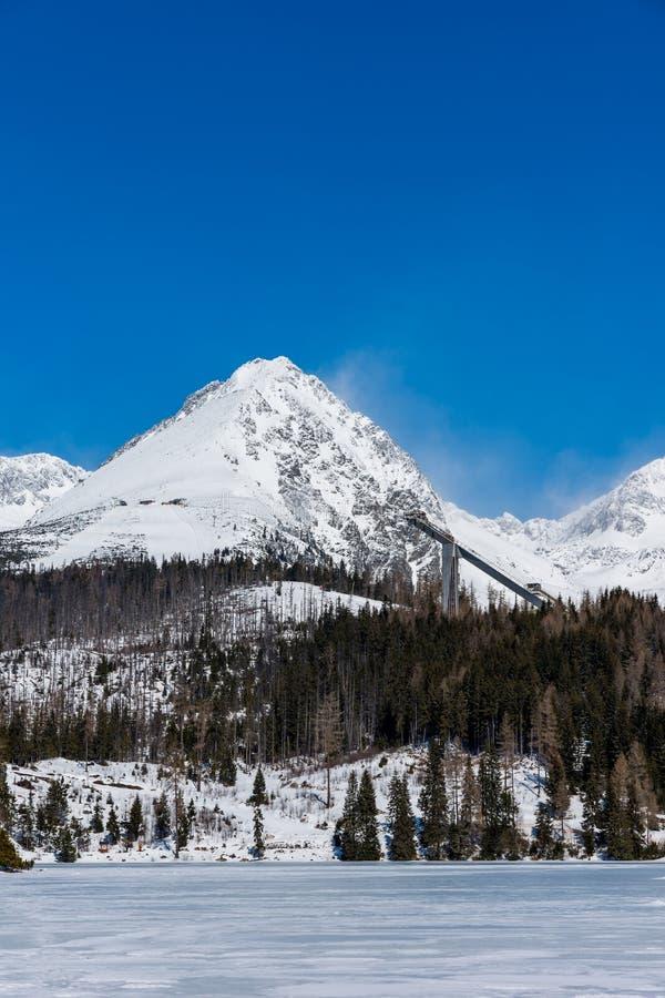 Eslováquia, Strbske Pleso: Vista do lago congelado em Tatra grande, Eslováquia Montanhas no fundo, nas árvores e no lago no prime foto de stock royalty free
