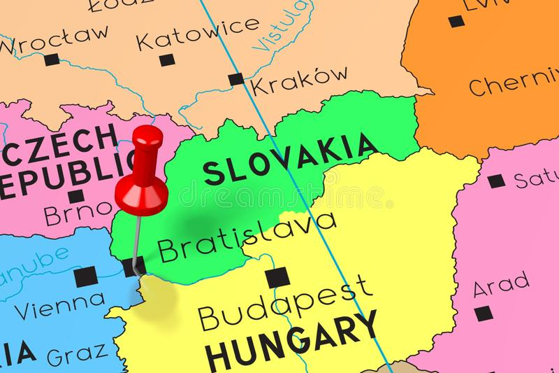 Eslovaquia, Bratislava - capital, fijado en mapa político libre illustration