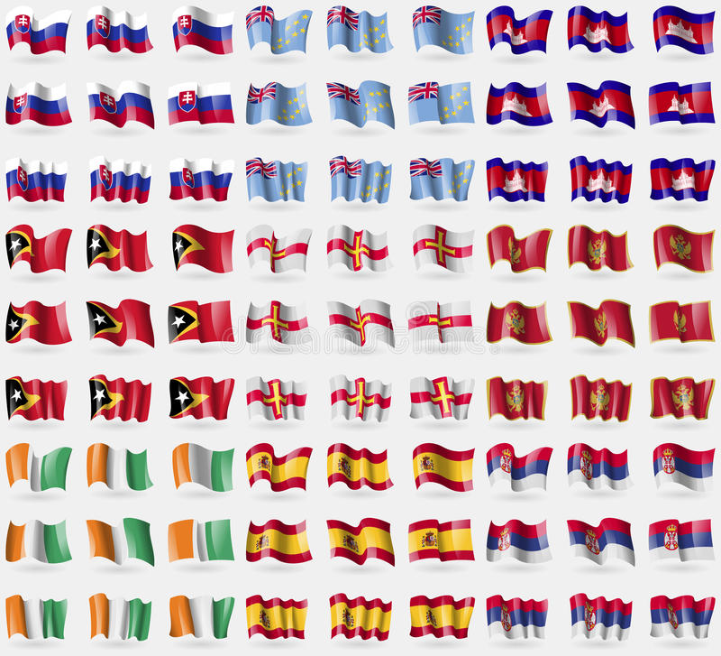 Eslovaquia, Tuvalu, Camboya, Timor Oriental, Guernesey, Montenegro, d'ivoire de Cote, España, Serbia Sistema grande de 81 bandera libre illustration