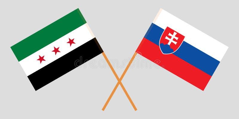 Eslovaquia y gobierno provisional de Siria Las banderas eslovacas y de la coalición Colores oficiales Proporción correcta Vector ilustración del vector