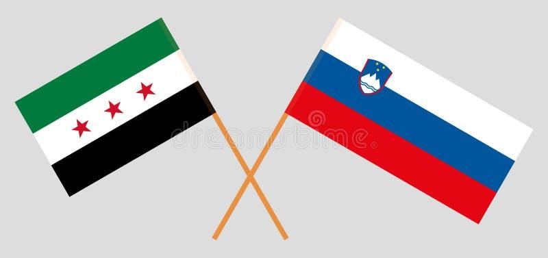 Eslovenia y gobierno provisional de Siria Las banderas eslovenas y de la coalición Colores oficiales Proporci?n correcta Vector ilustración del vector