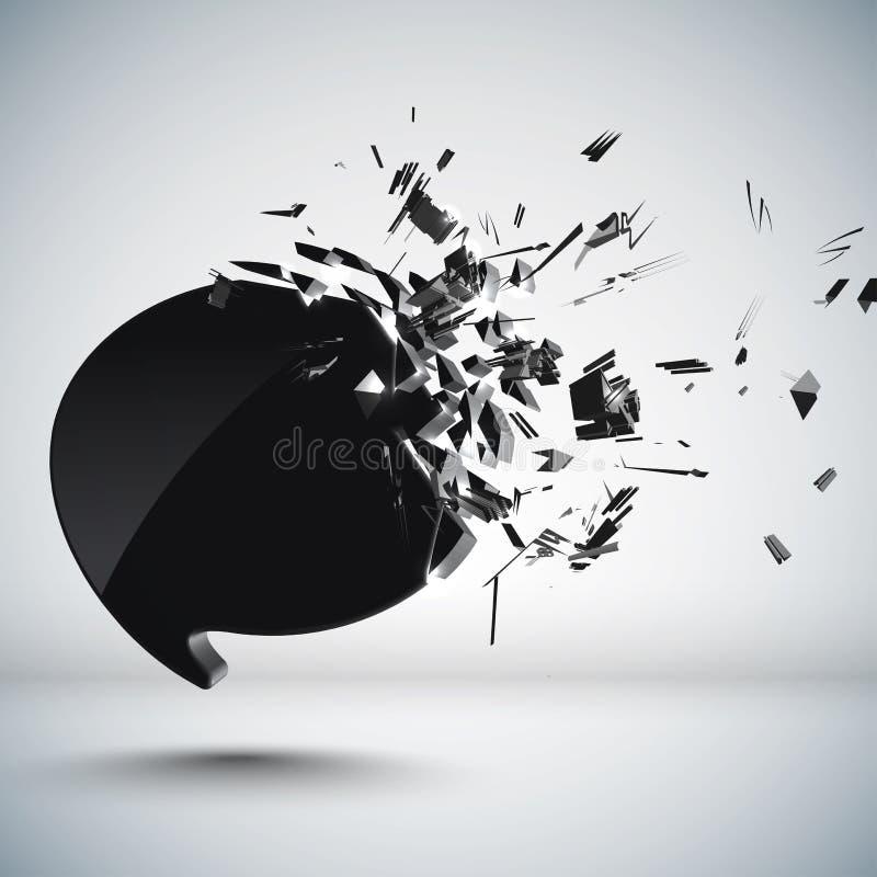 Esmagamento da bolha do discurso ilustração do vetor
