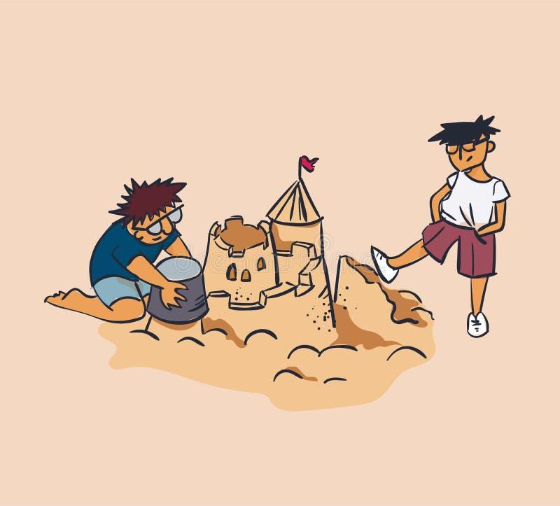 Esmagamento do castelo da areia da ilustração do vetor do conceito do desenhista e do verificador, inveja, conceito da desaprovaç ilustração royalty free